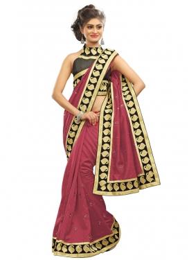 Gleaming Bhagalpuri Silk Lace Work Party Wear Saree