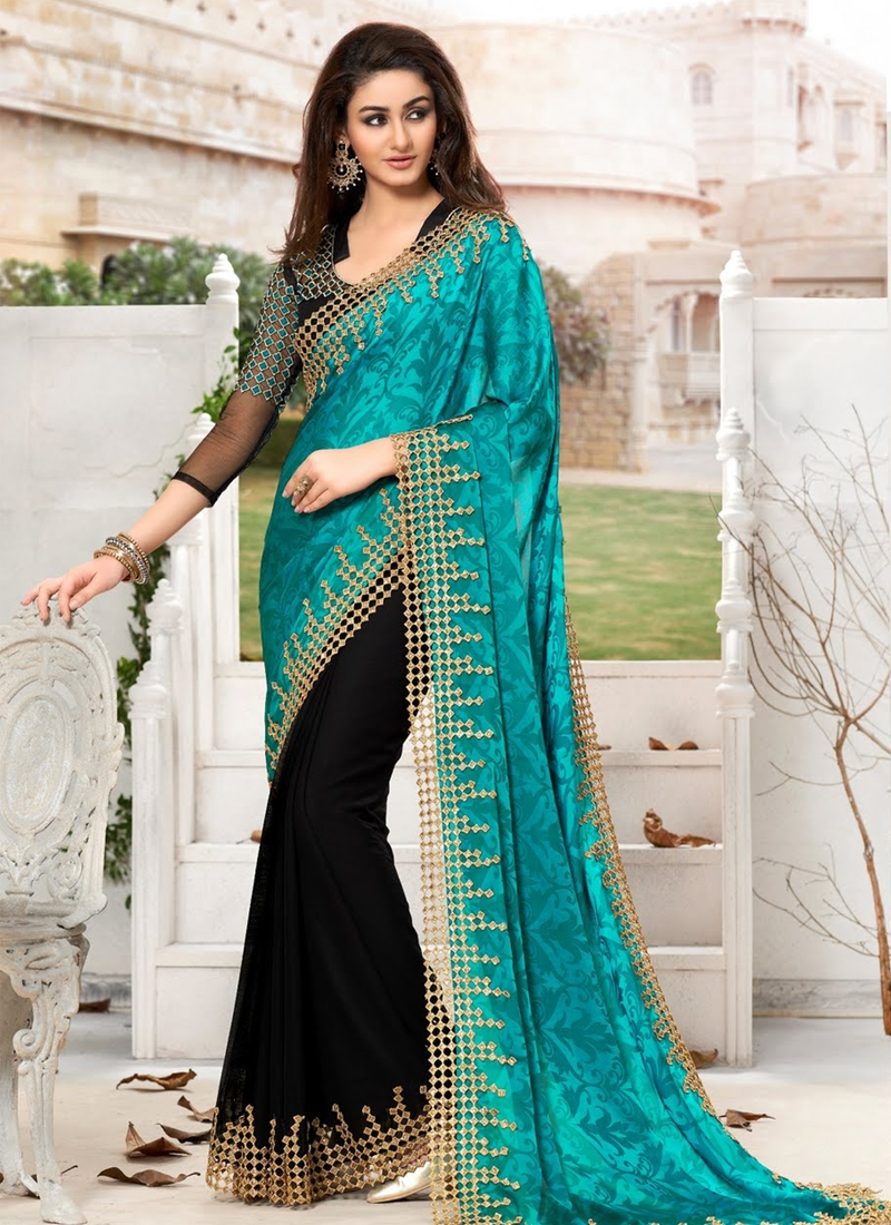 Gleaming Black Color Cut Work Half N Half Designer Saree