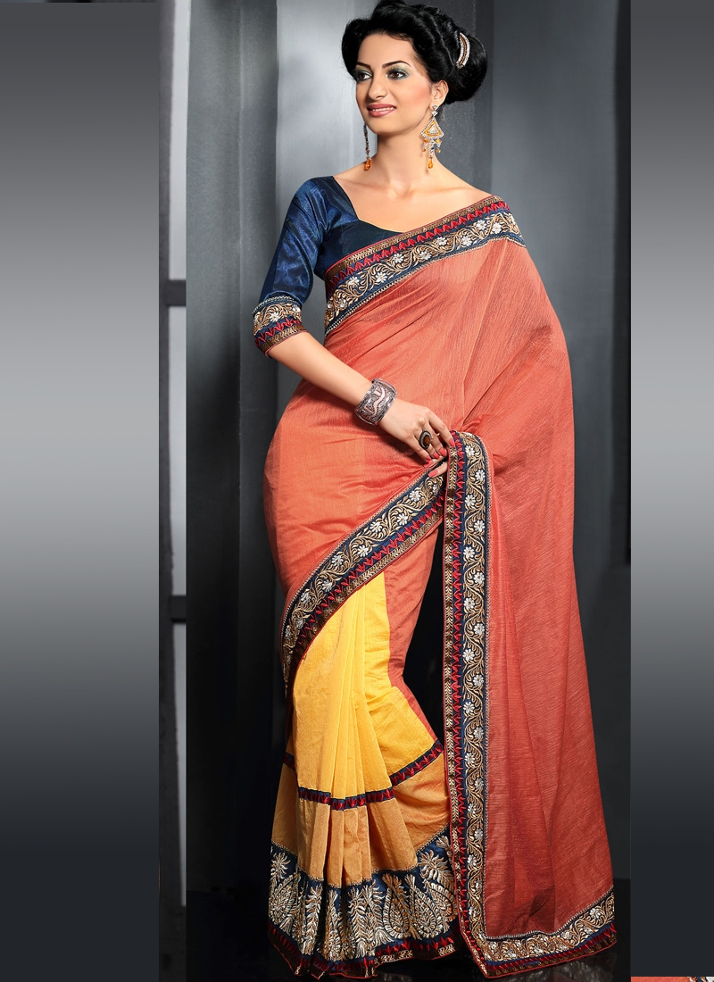 Gleaming Coral And Yellow Half N Half Saree
