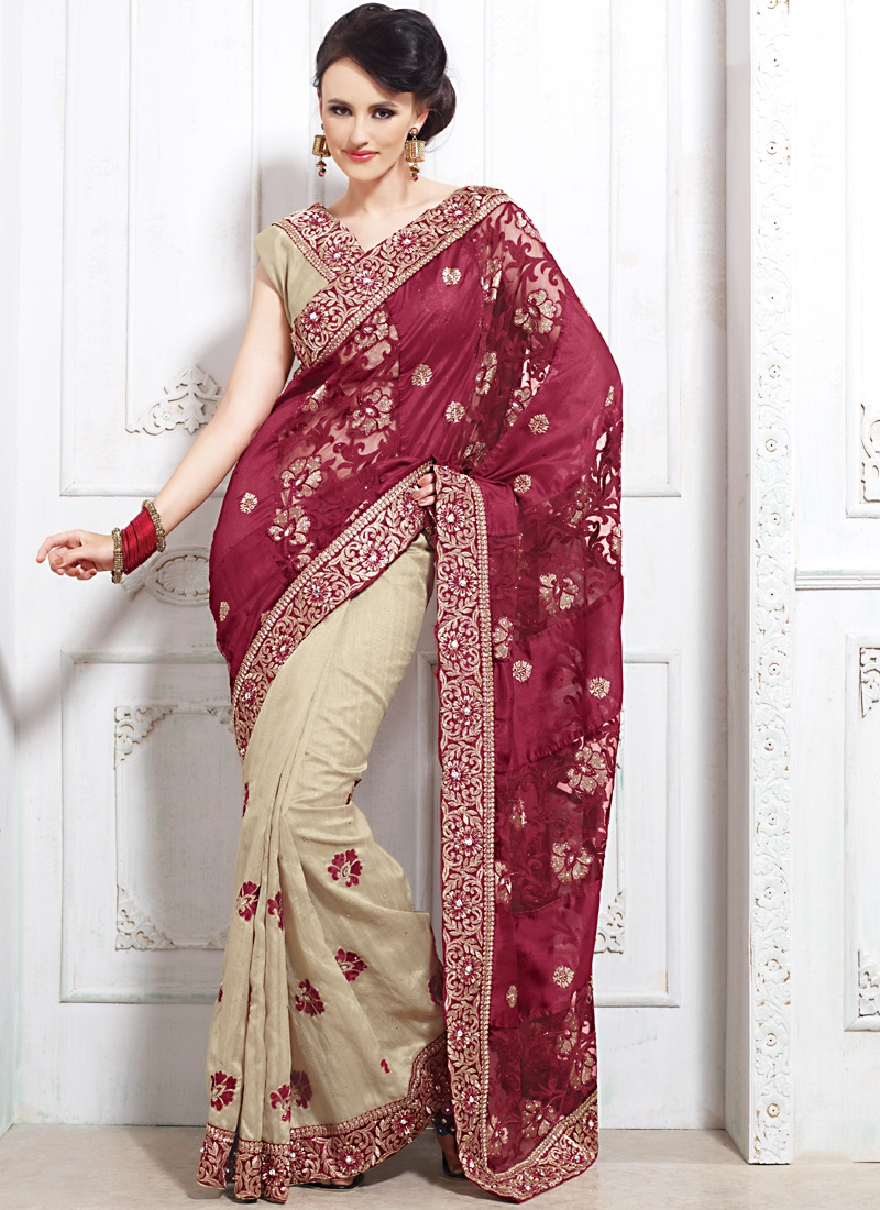 Gleaming Cream And Burgundy Color Saree