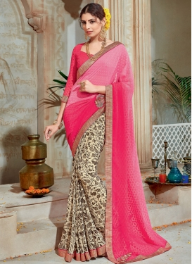 Gleaming Cream and Hot Pink Abstract Print Work Half N Half Saree For Festival