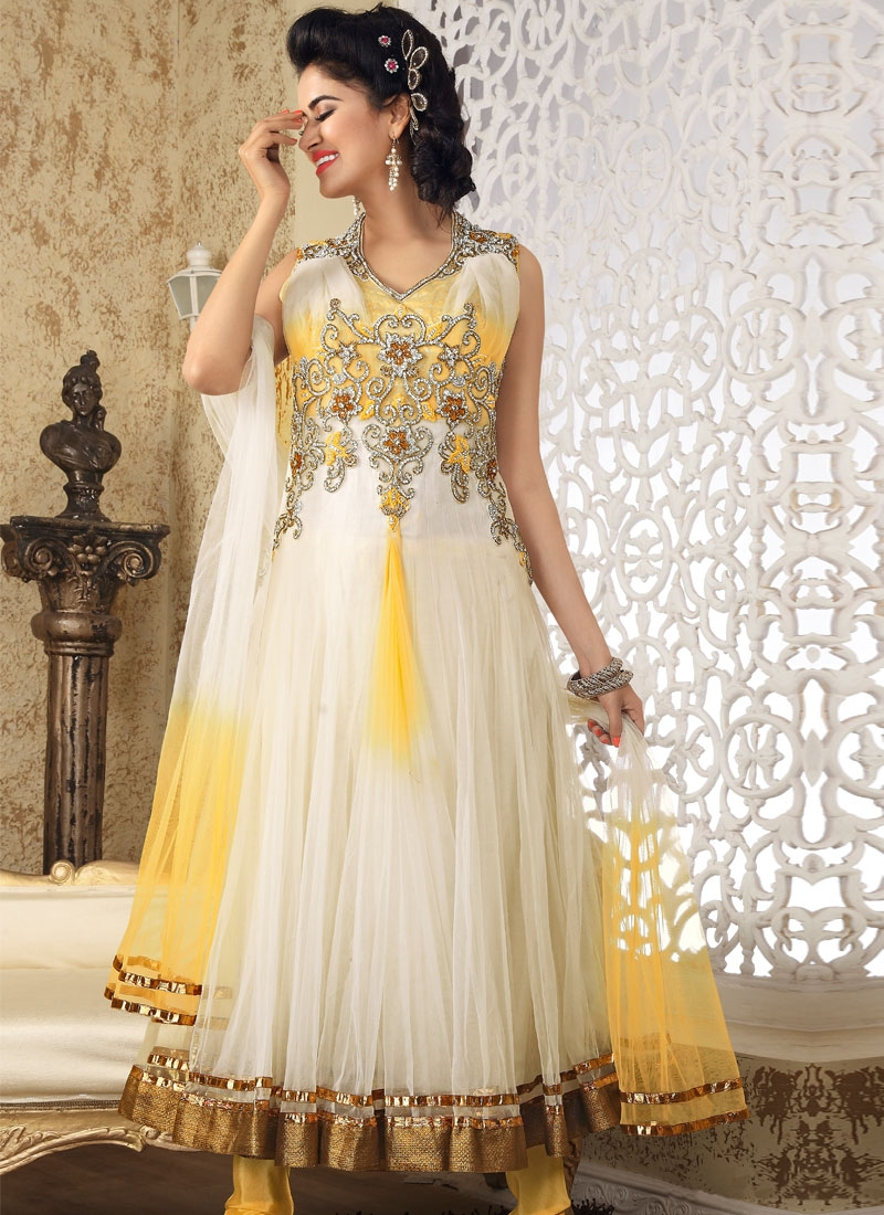 Gleaming Gold And Off White Salwar Kameez