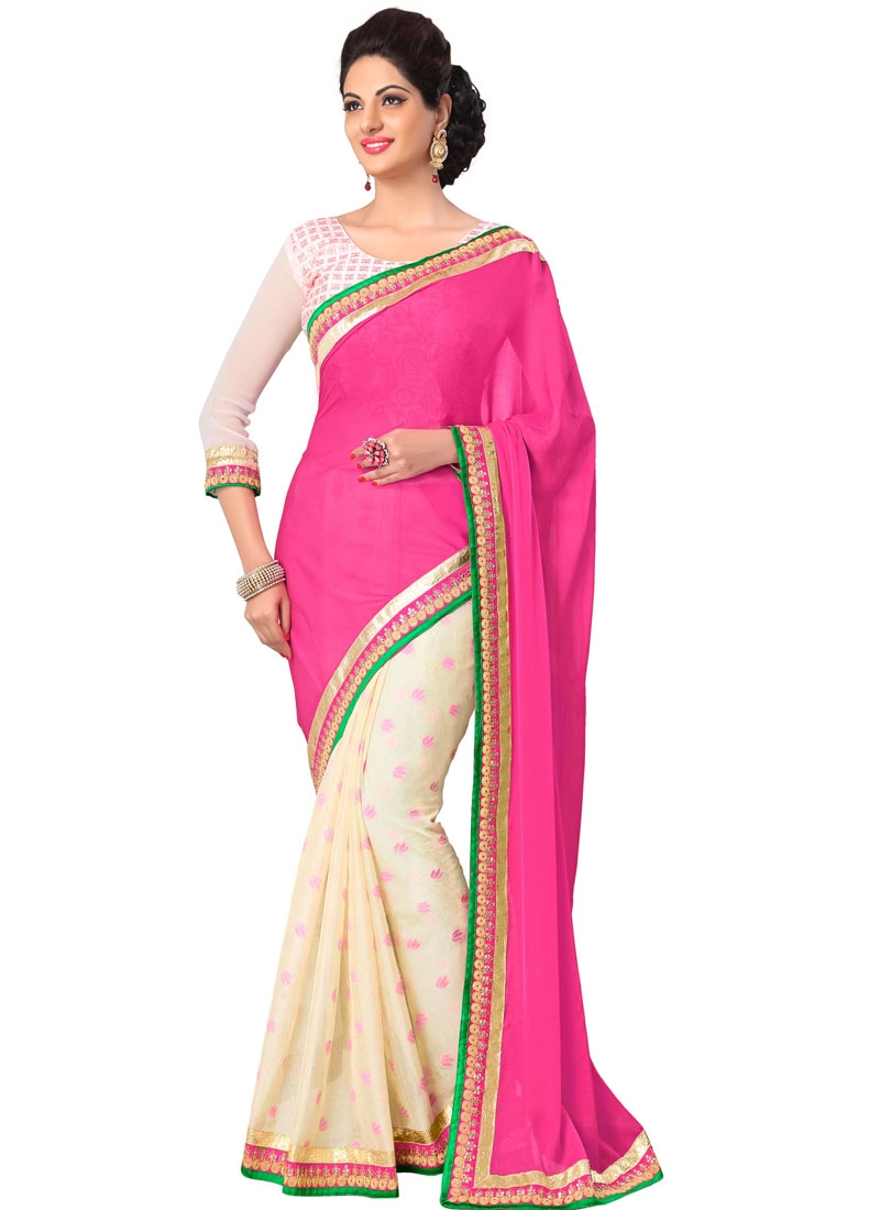 Gleaming Hot Pink And Cream Color Half N Half Casual Saree