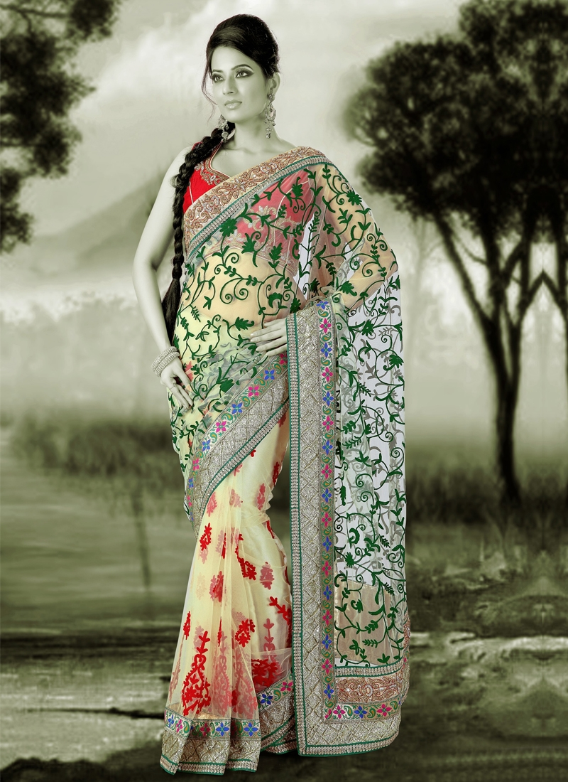 Gleaming Jaal And Lace Work Designer Saree