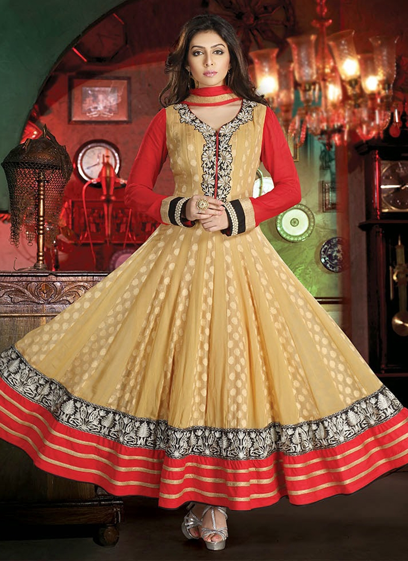 Gleaming Karachi Work Readymade Anarkali Suit