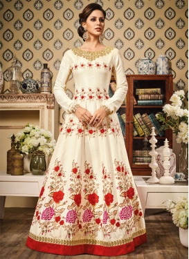 Gleaming Lace Work Floor Length Kalidar Salwar Suit