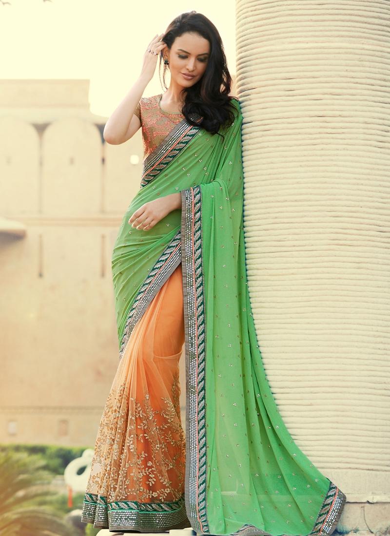 Gleaming Lace Work Half N Half Wedding Saree