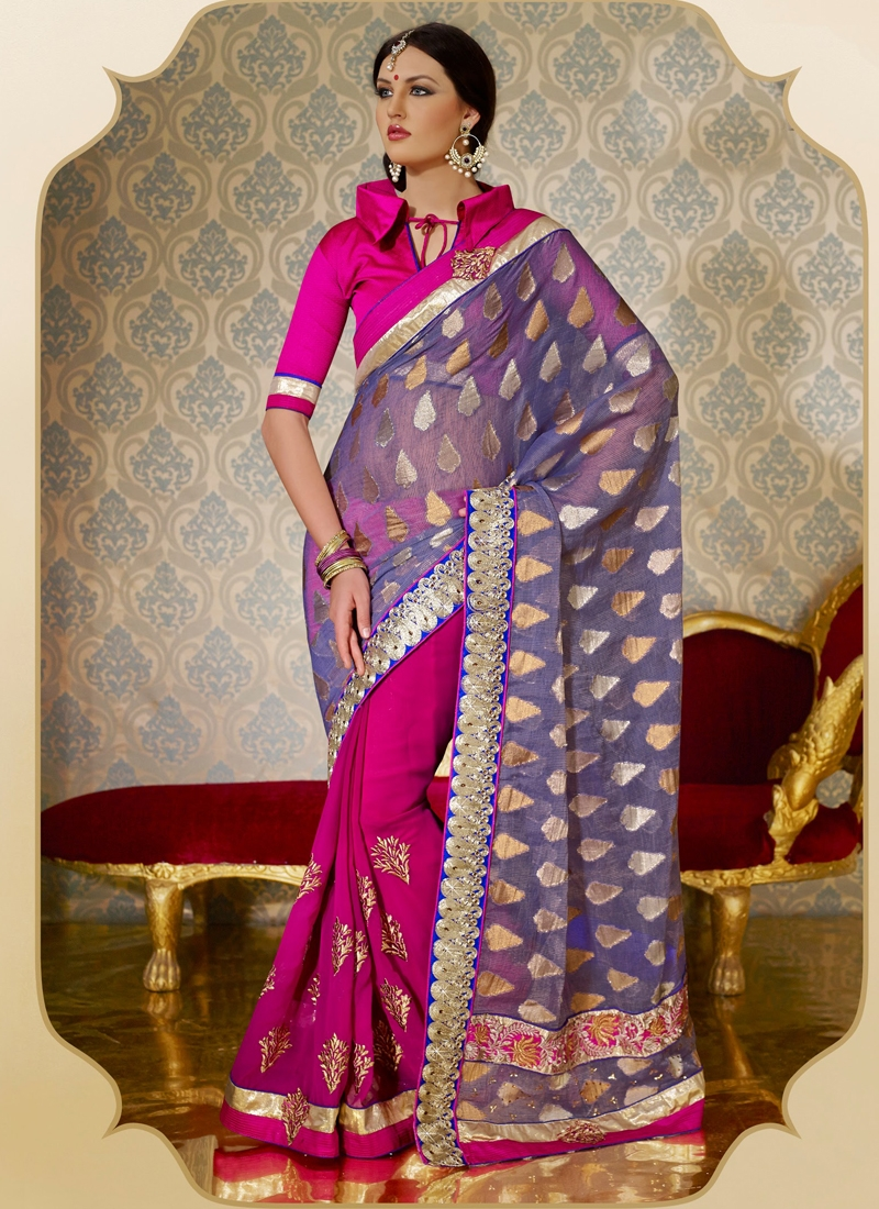 Gleaming Multi And Lace Enhanced Half N Half Saree