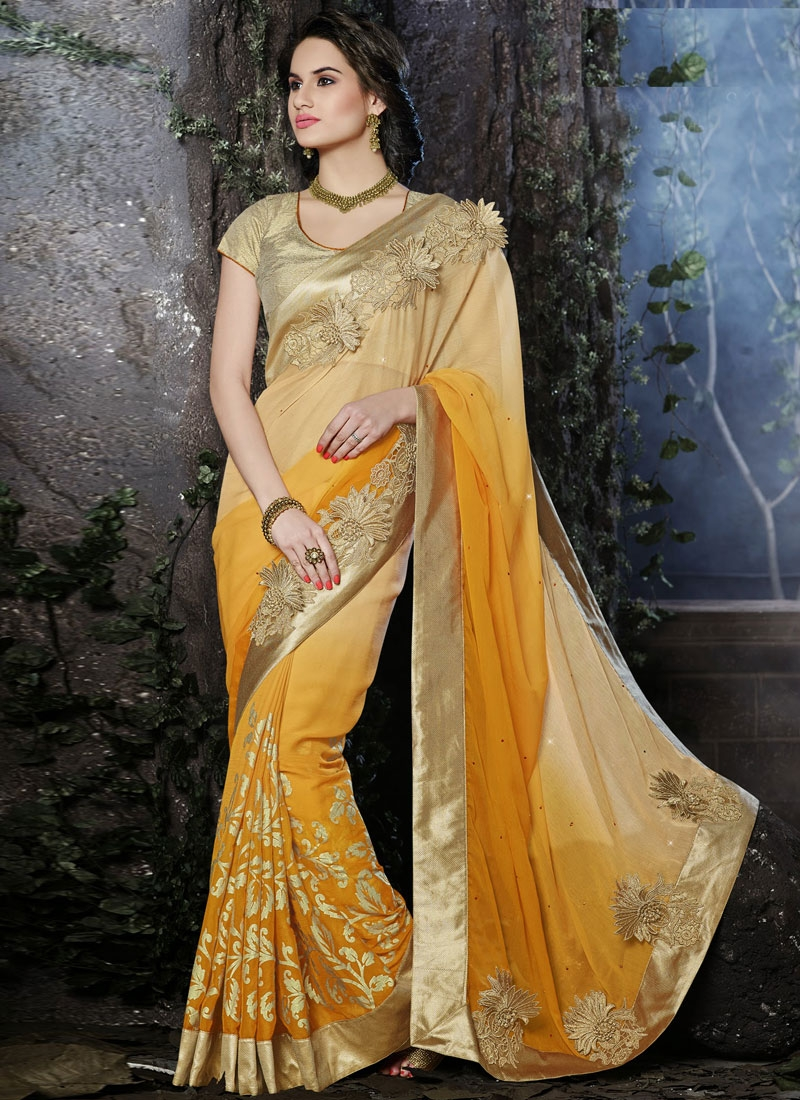 Gleaming Orange And Beige Color Chiffon Wedding Saree