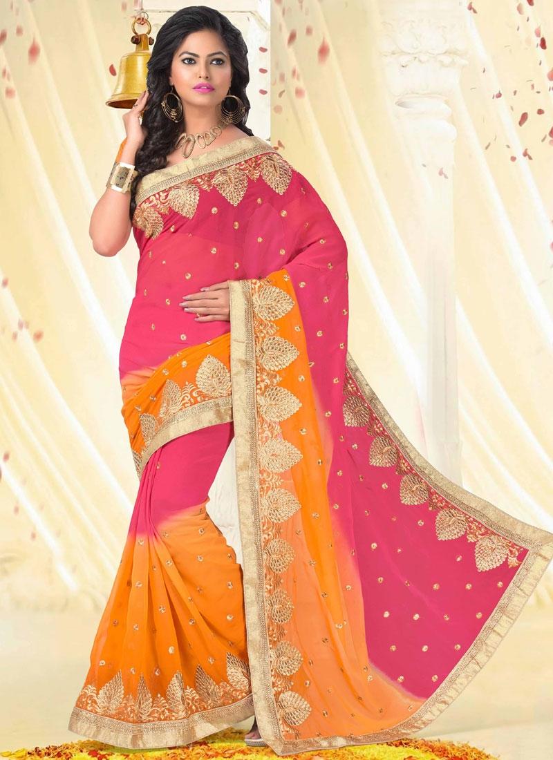 Gleaming Orange And Rose Pink Color Designer Saree