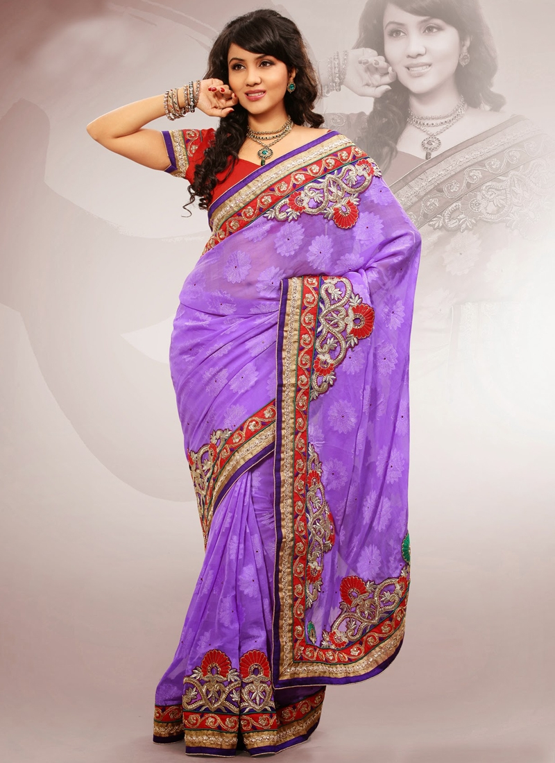 Gleaming Patch Enhanced Chiffon Party Wear Saree