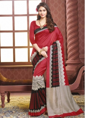 Gleaming Print Work  Art Silk Traditional Saree