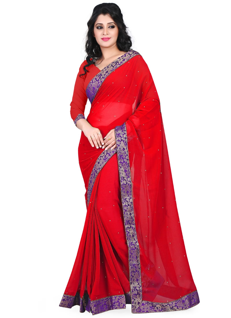 Gleaming Red Color Faux Chiffon Casual Saree