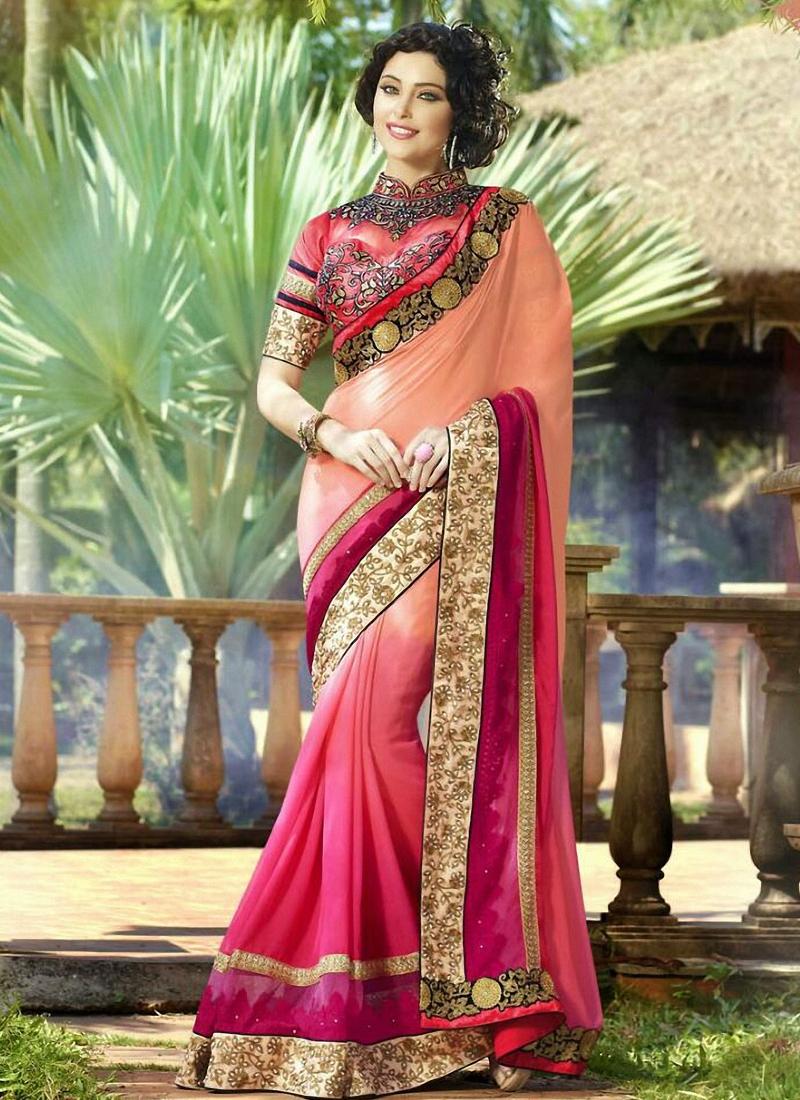Gleaming Resham Work Half N Half Designer Saree