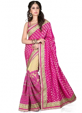 Gleaming Resham Work Viscose Half N Half Wedding Saree