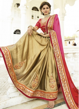 Gleaming Stone And Beads Work Half N Half Designer Saree