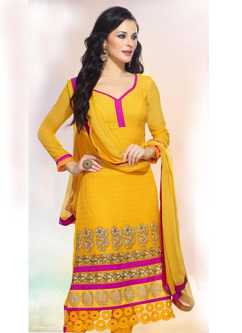 Gleaming Yellow Color Wedding Salwar Kameez