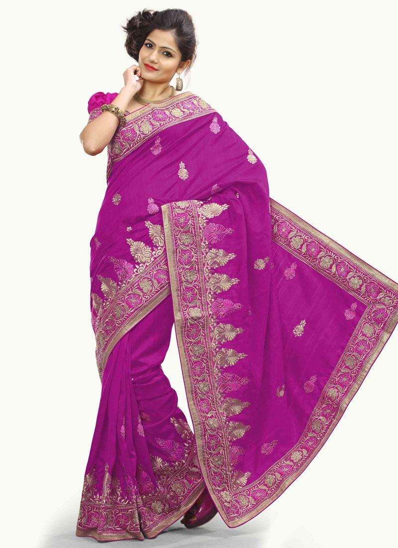 Glitzy Bhagalpuri Silk Magenta Color Designer Saree