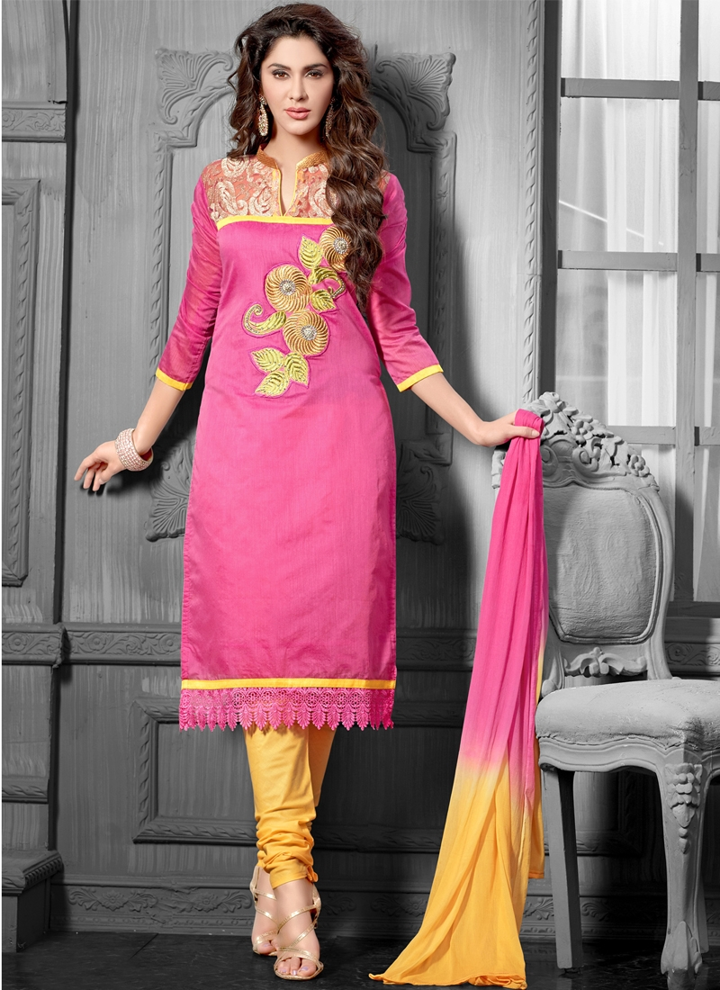 Glitzy Chanderi Cotton Silk Casual Salwar Suit