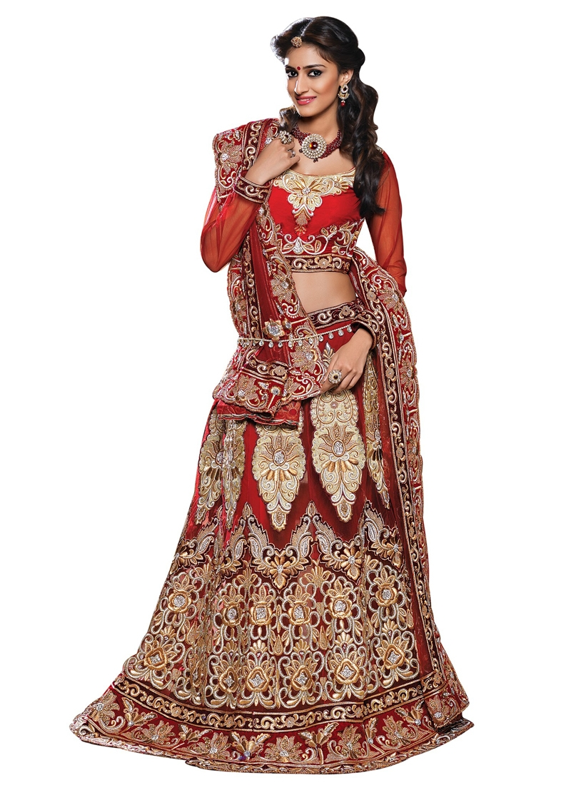 Glitzy Embroidery And Stone Work Bridal Lehenga Choli