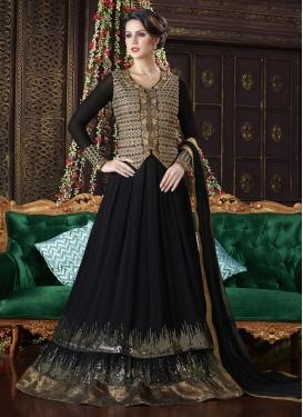 Glitzy  Lace Work Long Length Designer Suit
