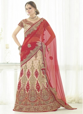 Glitzy Net Beige and Red Trendy Designer Lehenga Choli