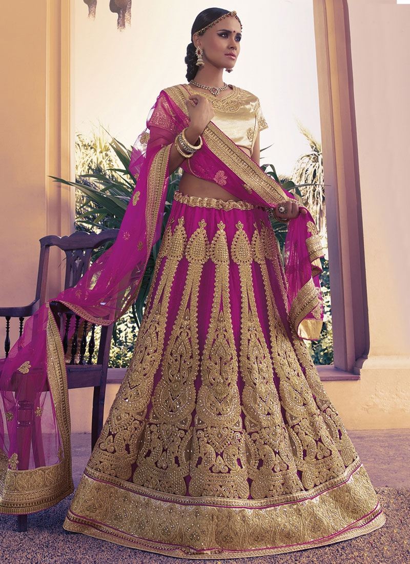 Glitzy Stone And Patch Border Work Bridal Lehenga Choli