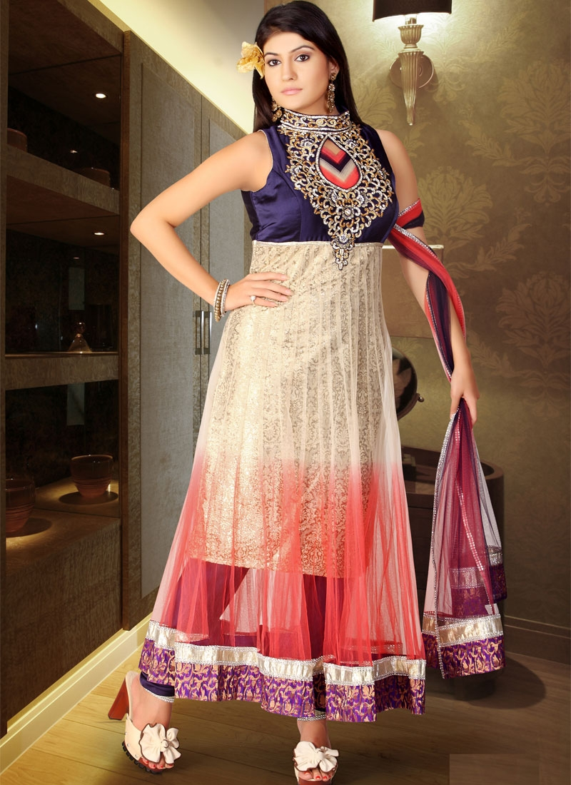 Glorious Beige And Red Readymade Salwar Kameez