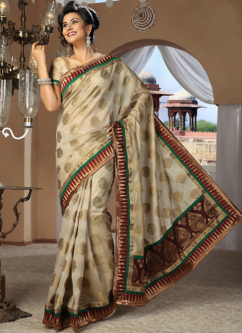 Glorious Beige Color Silk Saree
