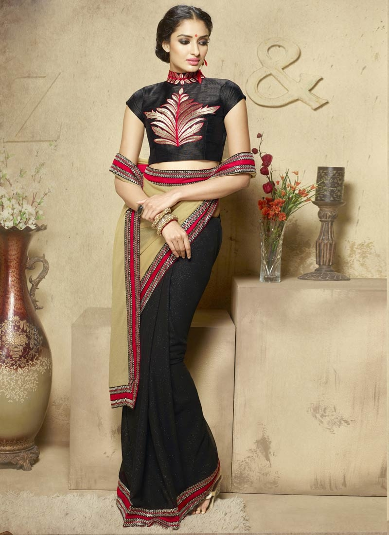 Glorious Black And Beige Color Half N Half Party Wear Saree