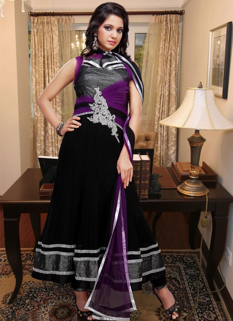 Glorious Black And Purple Georgette Salwar Kameez