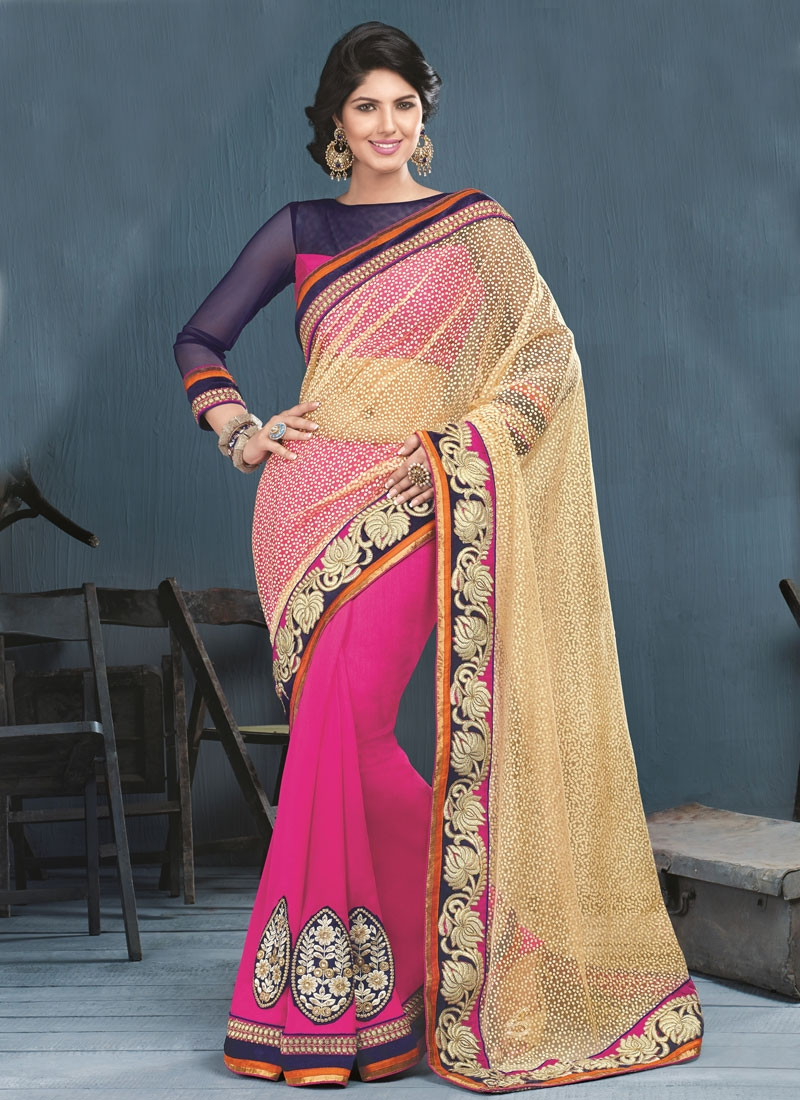 Glorious Booti Work Art Silk Half N Half Party Wear Saree