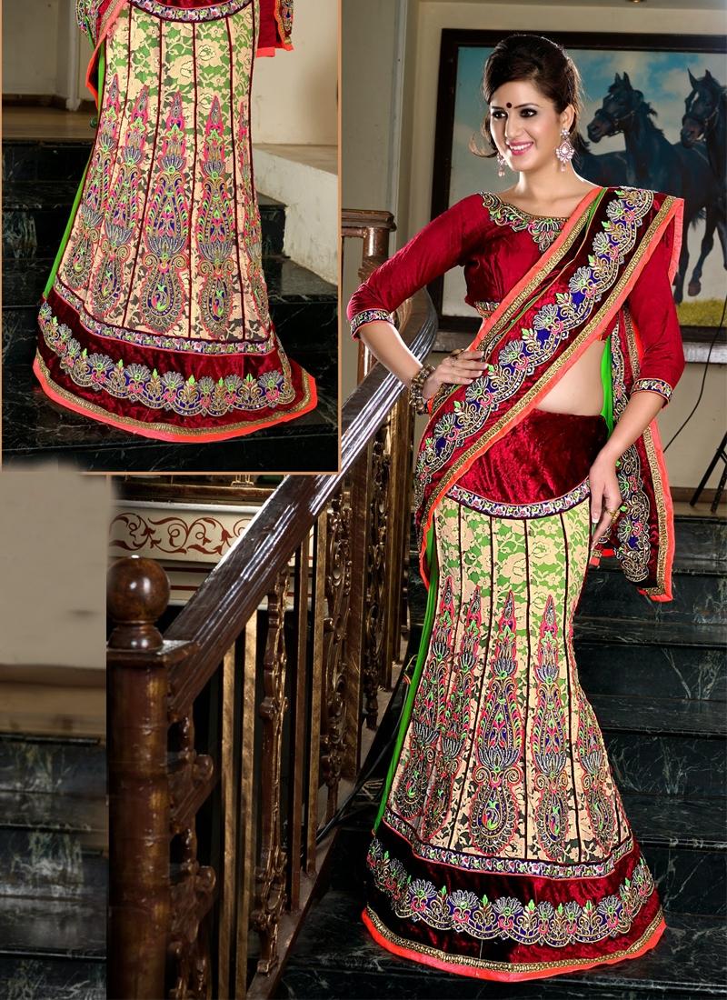 Glorious Chiffon Net And Georgette Lehenga Saree