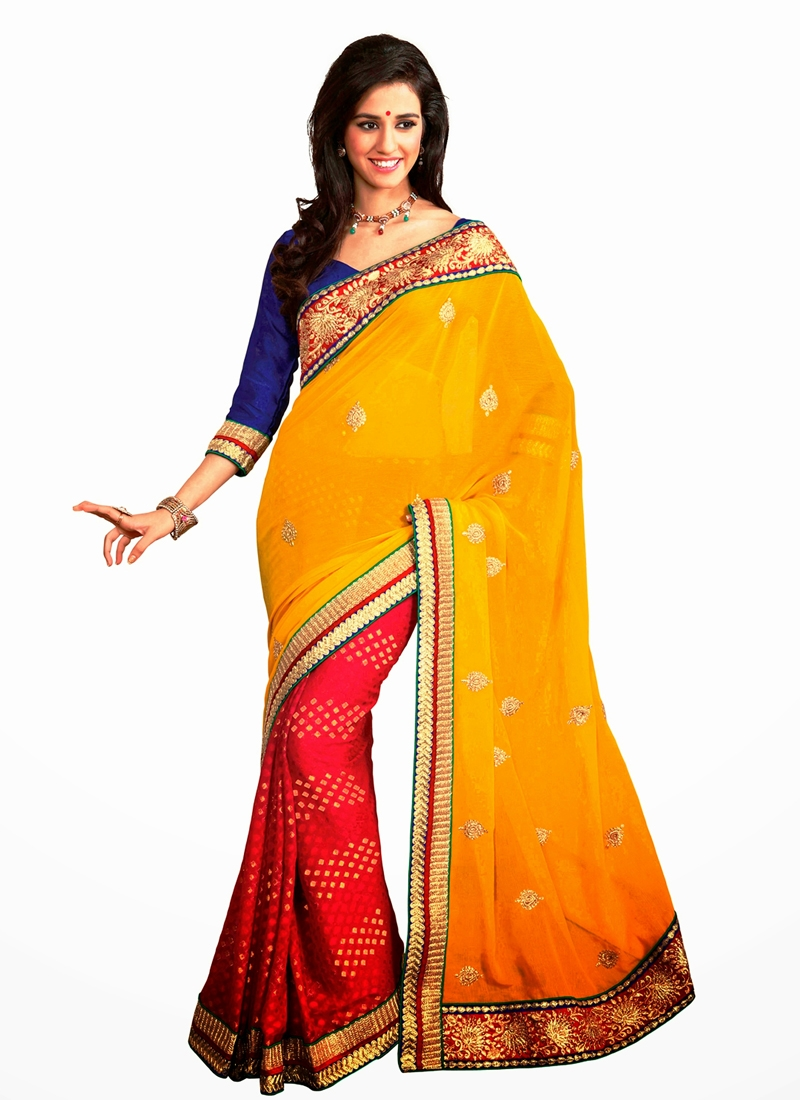 Glorious Gold And Red Color Half N Half Saree