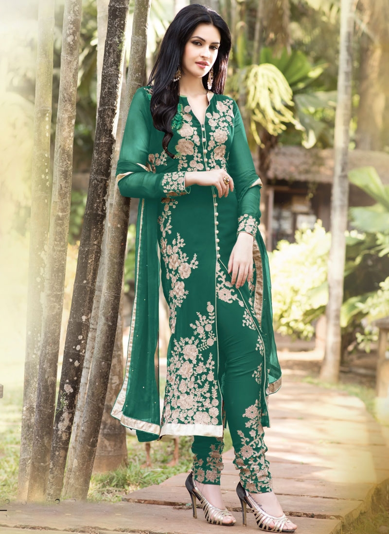 Glorious Green Color Faux Georgette Designer Salwar Kameez