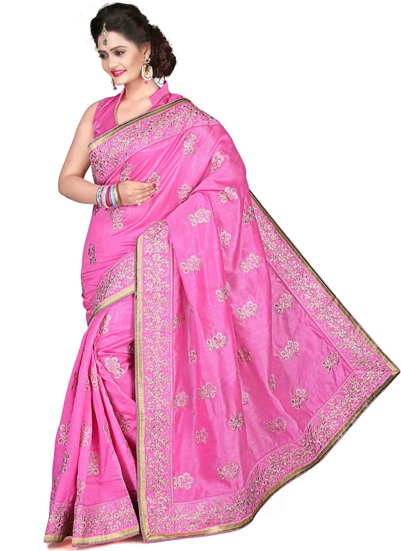 Glorious Hot Pink Color Lace Work Party Wear Saree