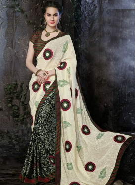 Glorious Jaal And Lace work Half N Half Casual Wear Saree