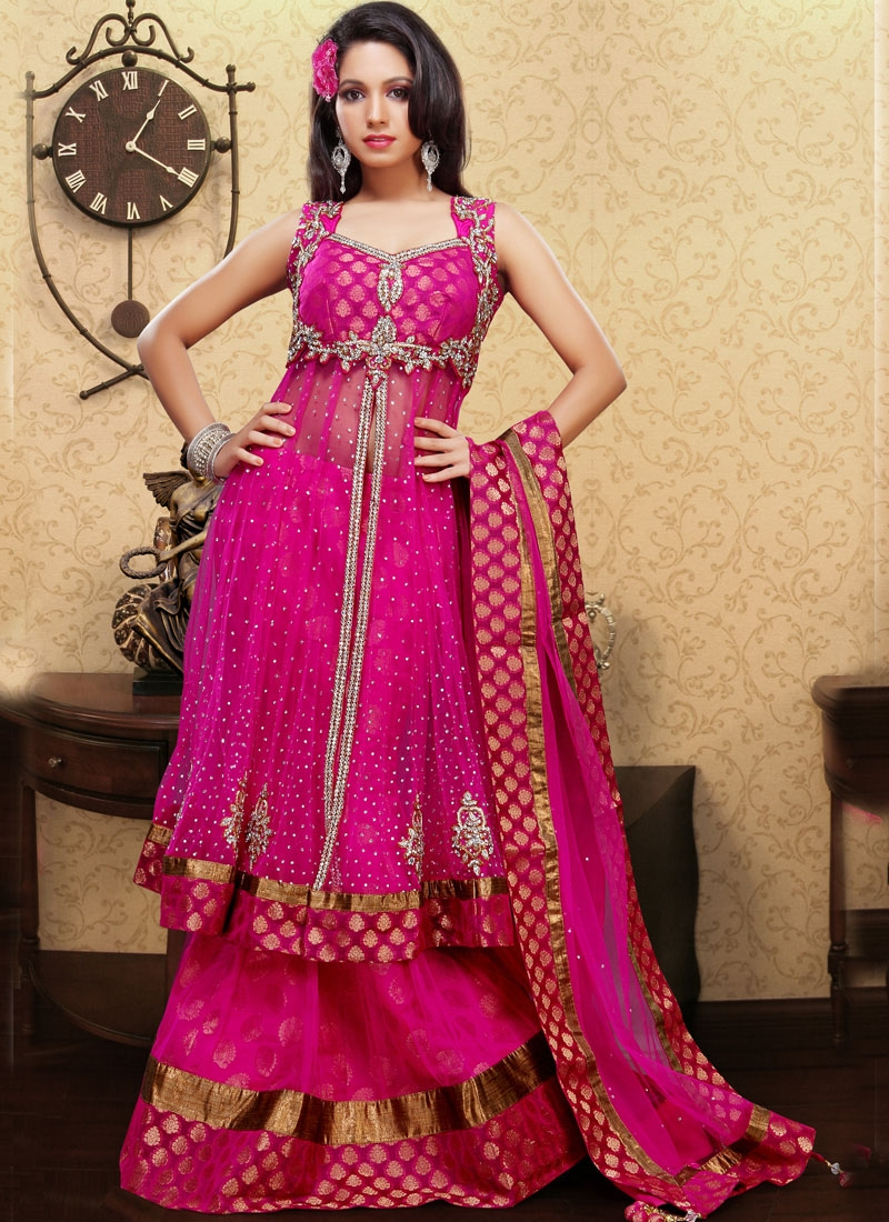 Glorious Magenta Net Readymade Lehenga Choli