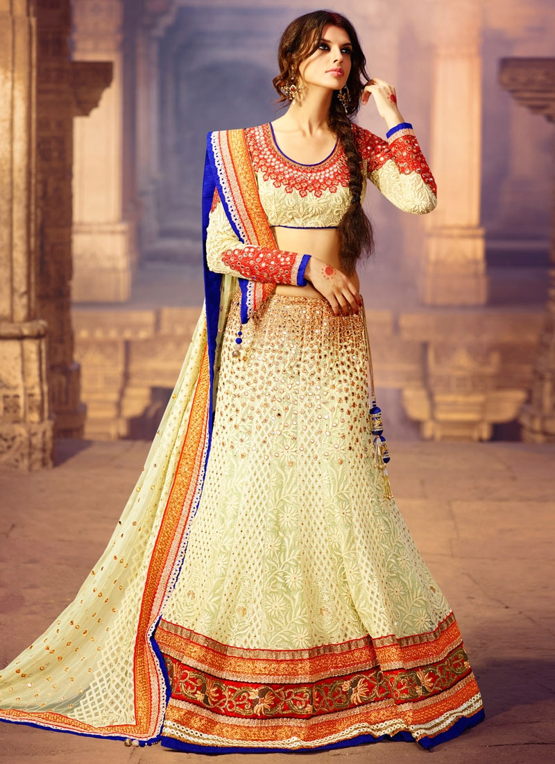 Glorious Mirror Work Bridal Lehenga Choli