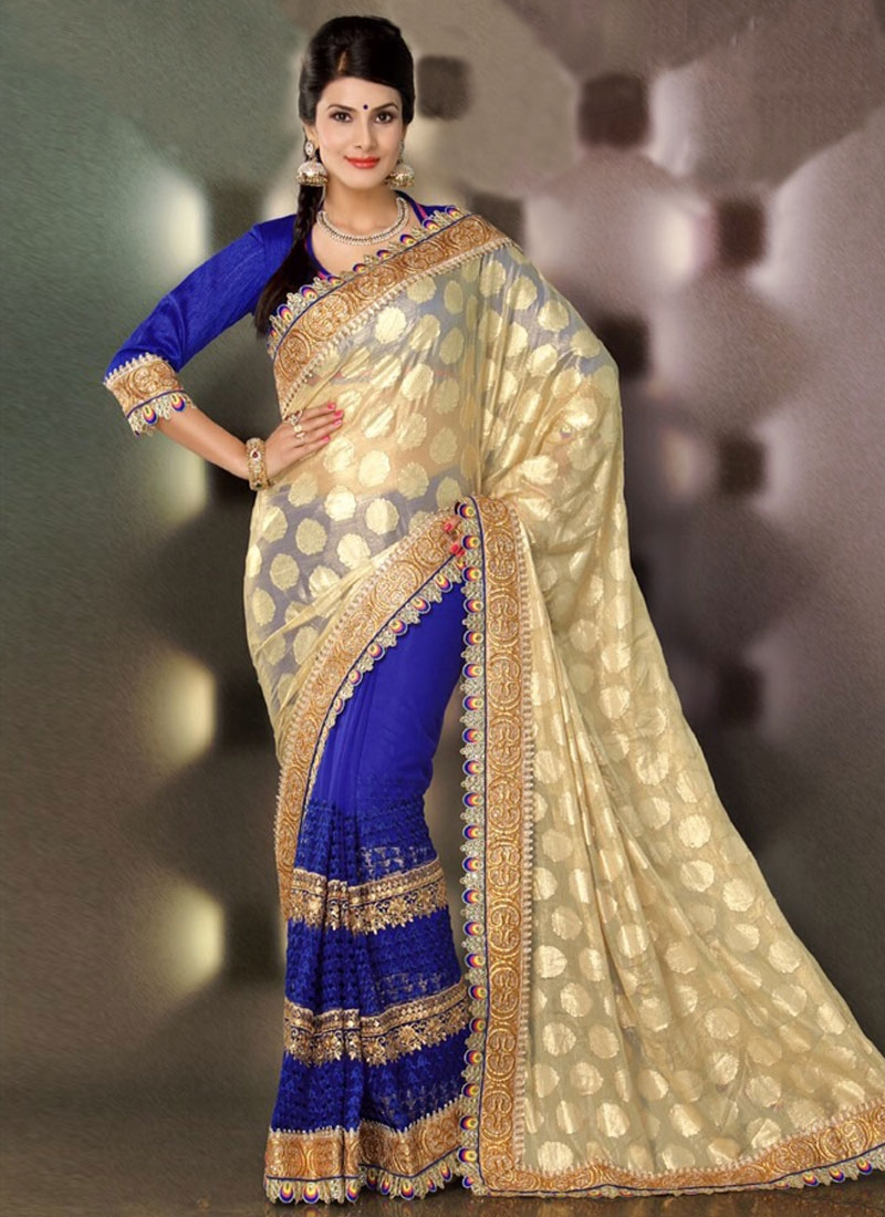 Glorious Multi And Patch Work Half N Half Party Wear Saree