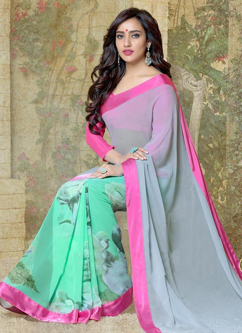 Glorious Neha Sharma Digital Printed Half N Half Casual Saree
