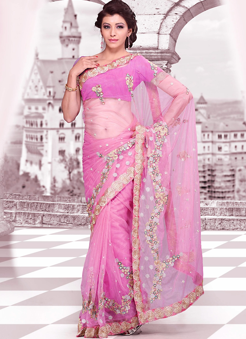Glorious Pink Embroidered Net Saree