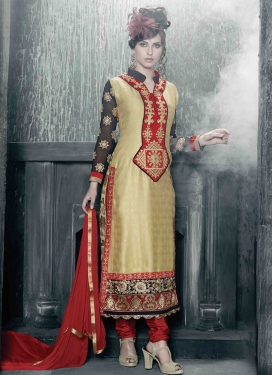 Glorious Resham And Lace Work Pakistani Salwar Kameez