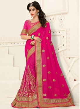 Glorious Rose Pink Booti Work Designer Classic Saree