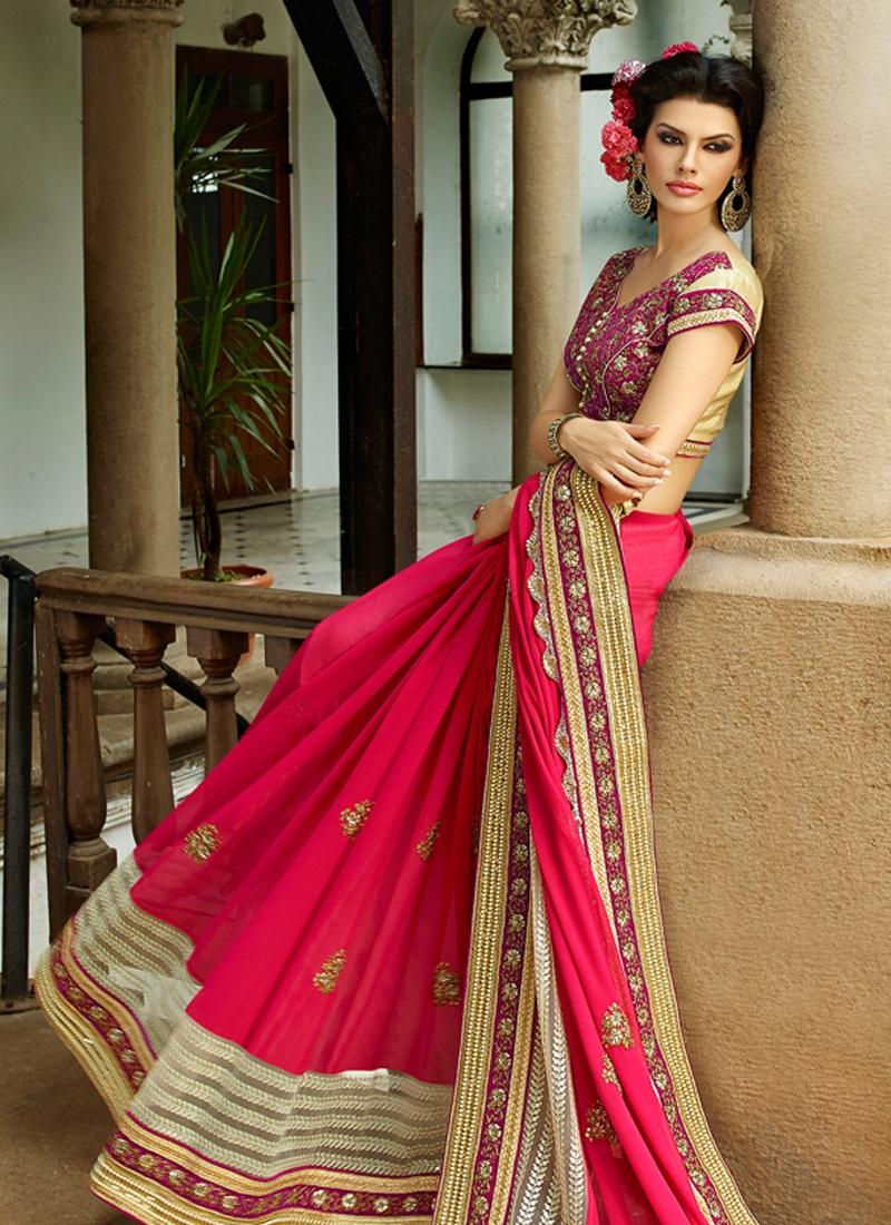 Glorious Sequins And Beads Work Wedding Saree