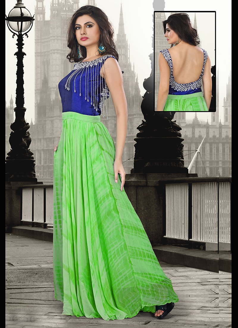 Glorious Stone Work Silk Party Wear Readymade Gown