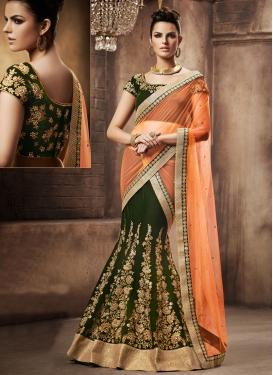 Glorious Stone Work Velvet Designer Lehenga Saree