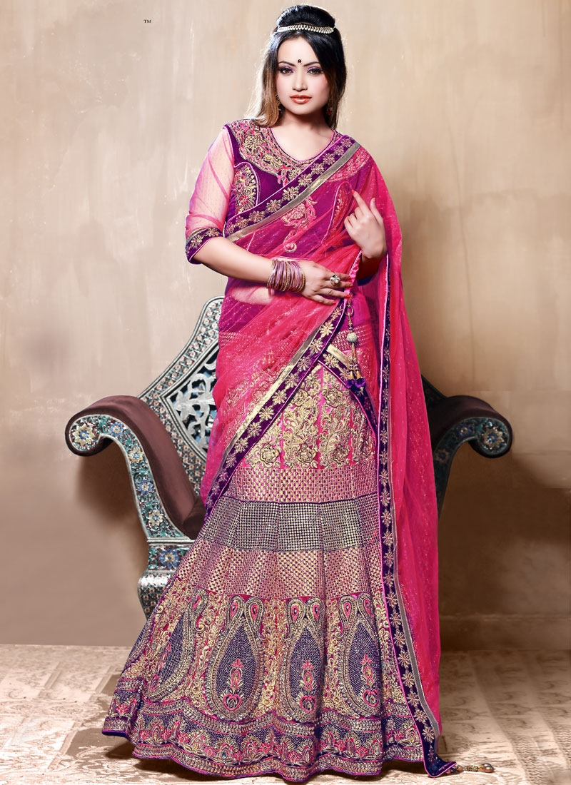 Glorious Velvet And Net Wedding Lehenga Choli