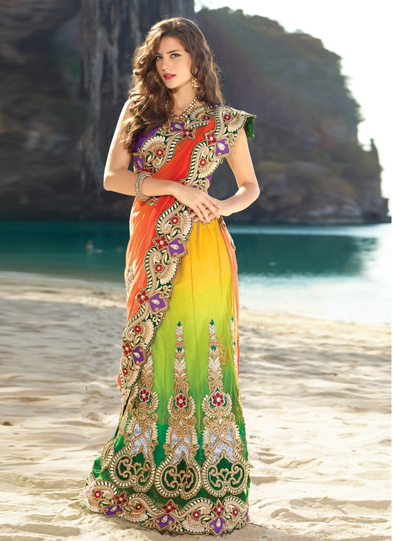 Glorious Velvet Enhanced Lehenga Saree