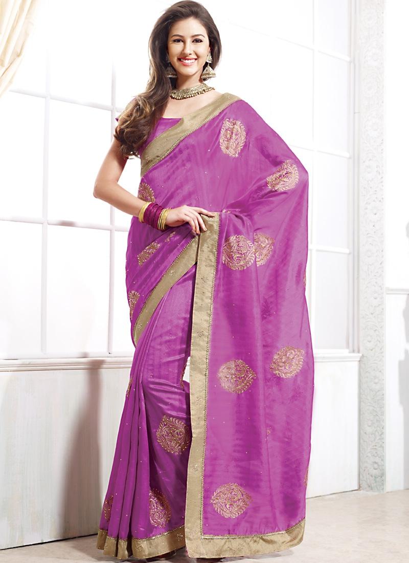 Glorious Violet Color Tussar Silk Saree